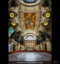 HDR vertorama of the Ethnographic Museum in  Budapest, Hungary 