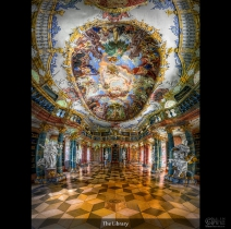Hand-held HDR vertorama from the labrary hall in Winlingen abbey (Kloster Wiblingen)