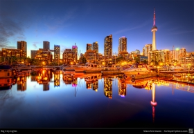 This is a 3-exposure HDR shot of the skyline of Toronto in the blue hour