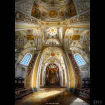 HDR Vertorama image showing the interior the cathedrad of Kempten, Germany