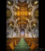 HDR Vertorama image showing the interior the Chinese church in Toronto, Canada