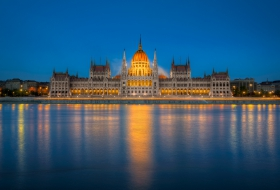 HDR image of the Hungarian Parliament in Budapest. Shot at the blue hour, created from 6 exposures.