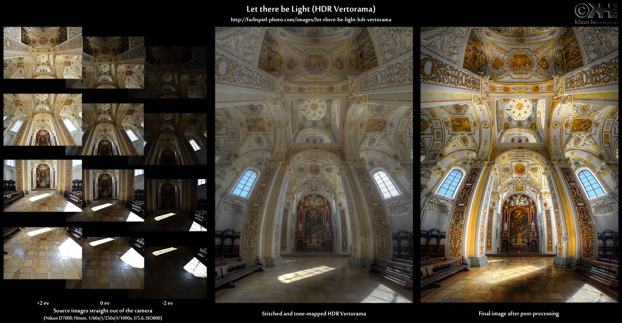 Before and After comparison of the 12-exposure HDR Vertorama 'Let there be Light'. Created with Photoshop and Photomatix