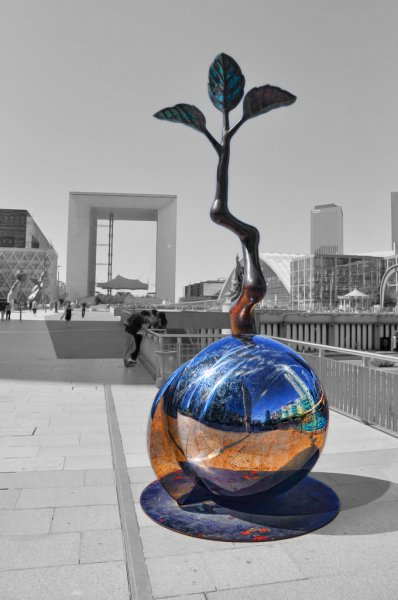 Place de la Defense, Paris - Reflections in a Sculpture