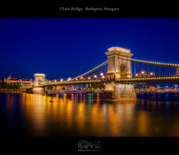 HDR image of the Chain Bridge by night. Budapest, Hungary