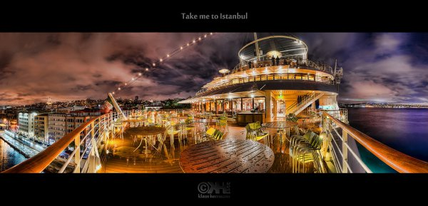 30-shot HDR panorama form a cruise ship, taken with a tripod