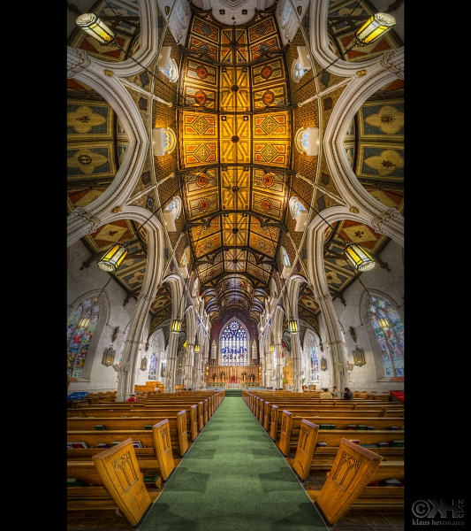 HDR Vertorama of the interior of the Chinese church in Toronto. Created from 12 hand-held exposures