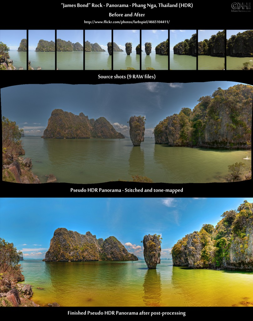 James Bond Rock - Panorama - Phang Nga, Thailand (HDR) - Before and After (click to enlarge)