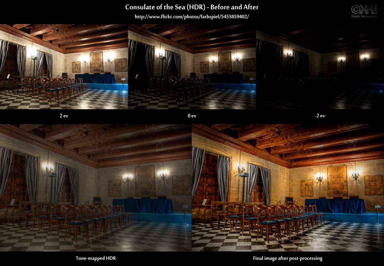 Before-and-after comparison of an HDR image showing the interior of the Lonja de la Seda in Valencia, Spain