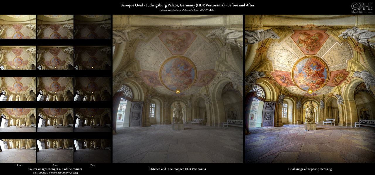 Before-and-after comparison of a stitched HDR Vertorama image showing Ludwigsburg Palace in Germany