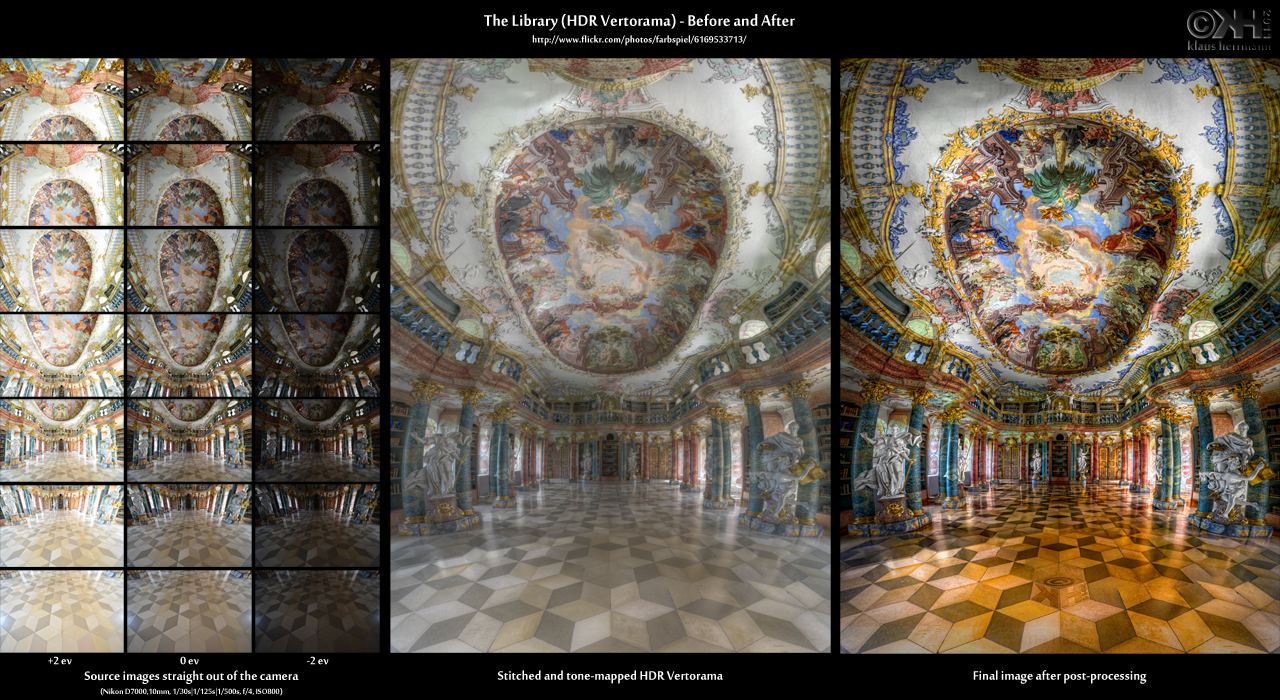 Before-and-after comparison of a stitched HDR Vertorama image: The Library (HDR Vertorama)
