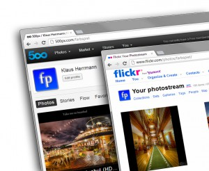 Flickr and 500px, two primary photo sharing sites.