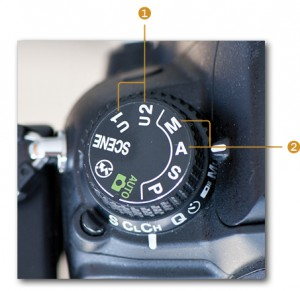 Mode dial with shooting modes and user settings (Nikon D7000)
