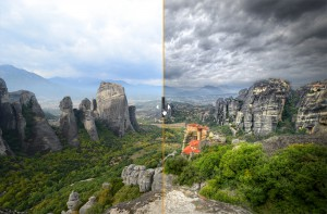 Dynamic Before-and-After: Rosánou Abbey  - Meteora (HDR) - Slide back and forth between the original exposure and the HDR version to see the effect of HDR processing on this image