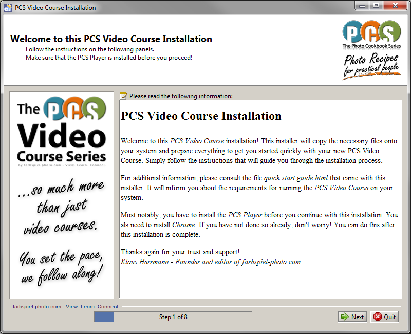 PCS Video - Installation Instructions - farbspiel photography