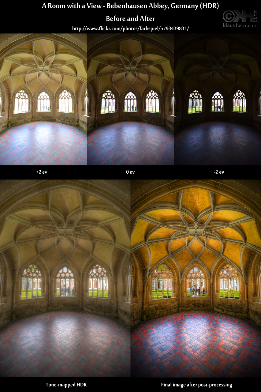 Before-and-after comparison of an HDR image showing the interior of Bebenhausen Abbey, Germany