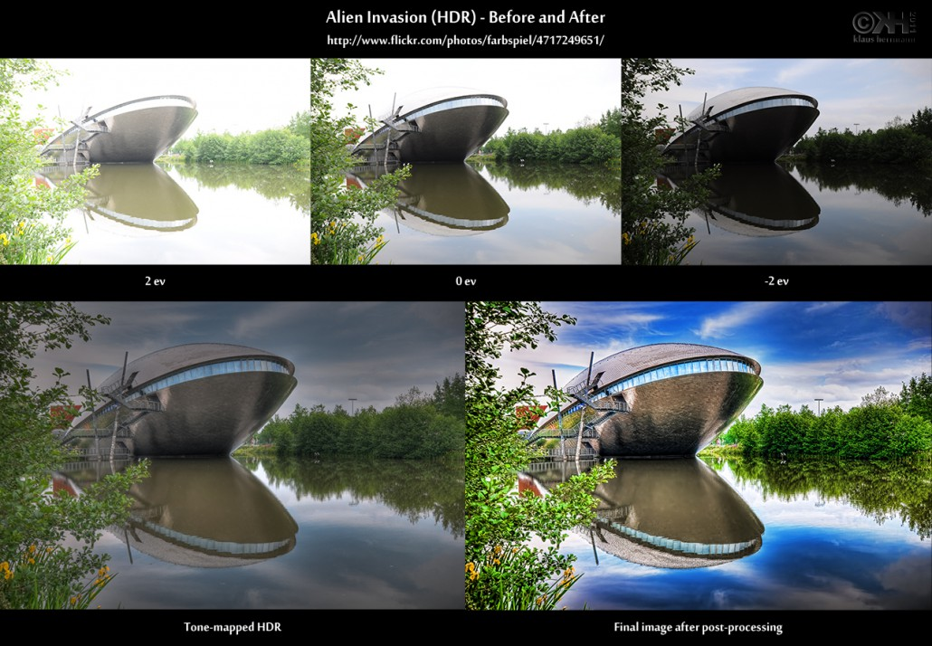 Before-and-after comparison of an HDR image showing the science center at the University of Bremen (Universum)