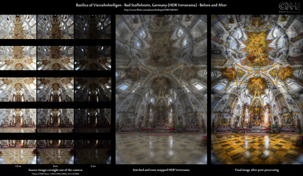 Before-and-after comparison of a stitched HDR Vertorama image showing the interior of the Basilica of Vierzehnheiligen in Bad Staffelstein, Germany