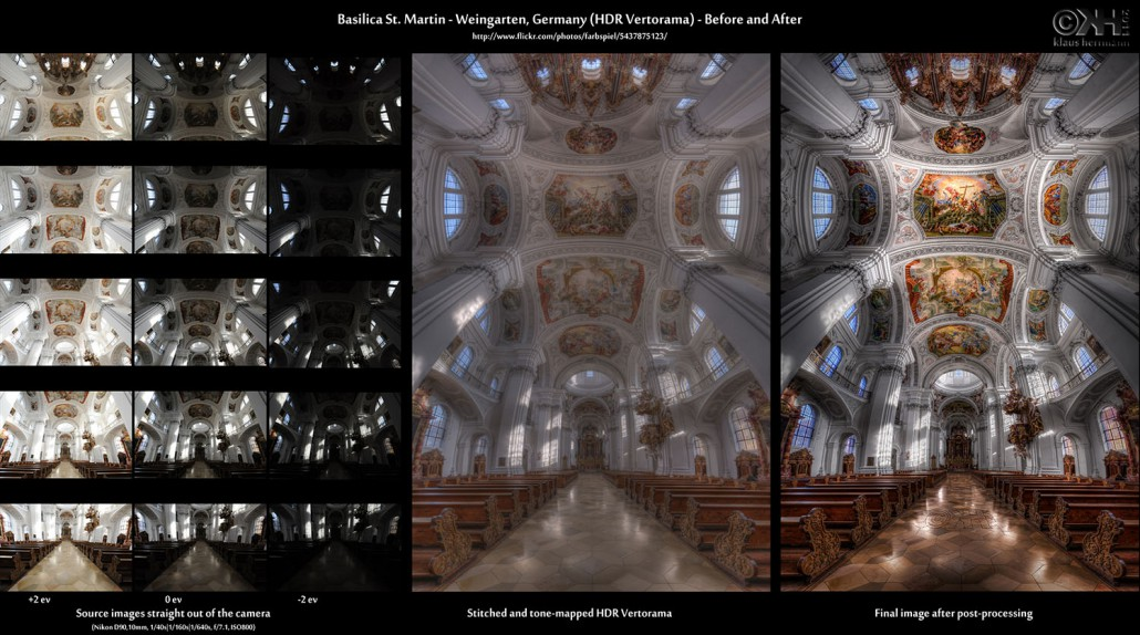 Before-and-after comparison of a stitched HDR Vertorama image showing the interior of the Basilica St. Martin in Weingarten, Germany