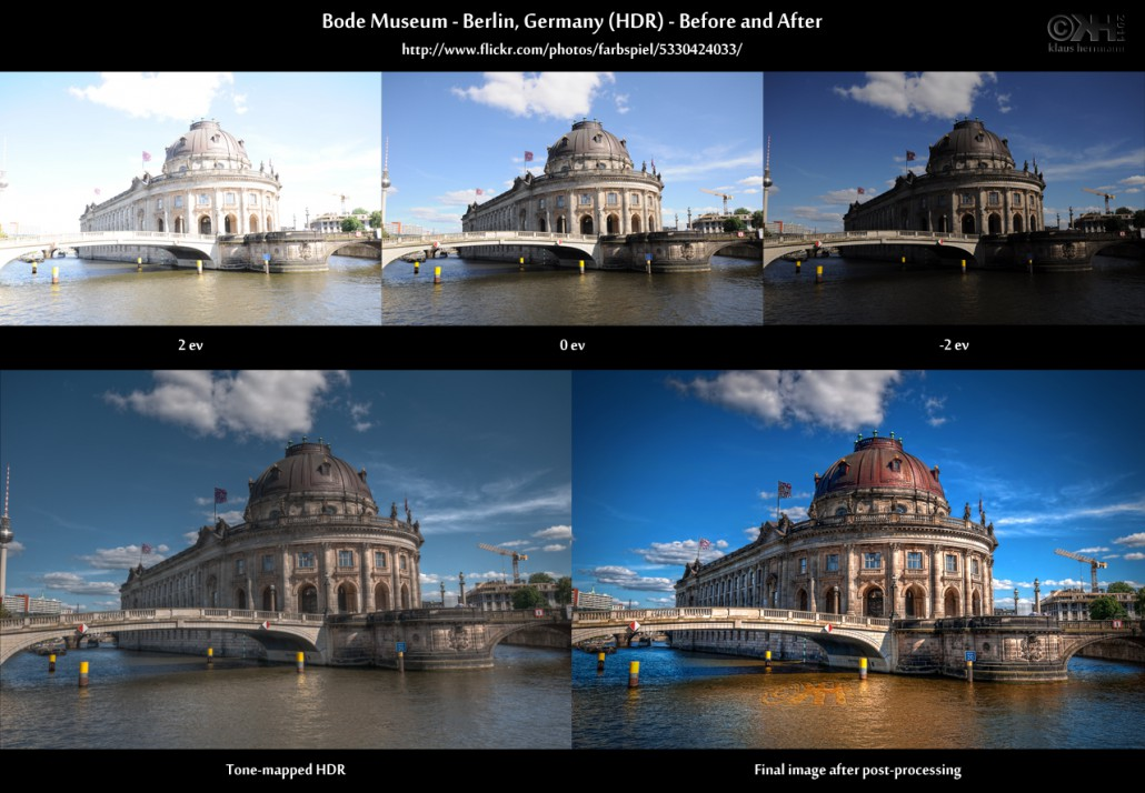 Before-and-after comparison of an HDR image showing the Bode Museum in Berlin, Germany