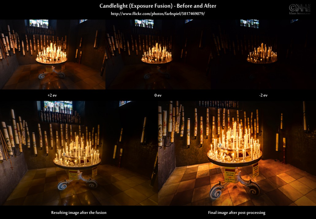 Before-and-after comparison of an exposure fusion image showing candles in chruch