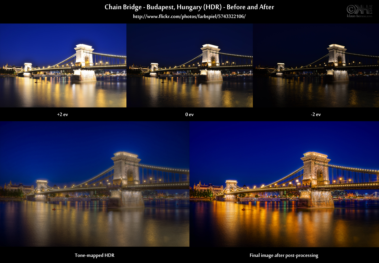 Before-and-after comparison of an HDR image showing the Chain Bridge in Budapest, Hungary at night