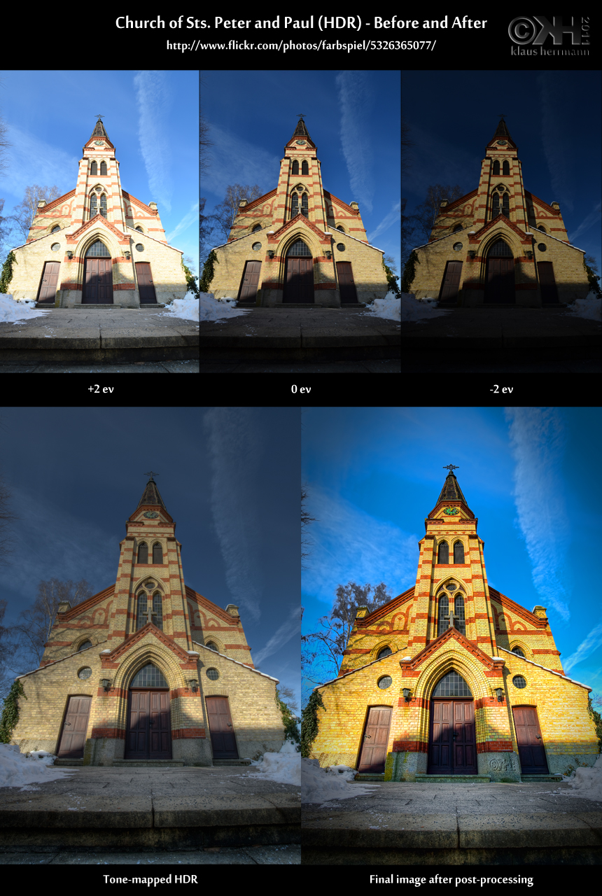 Before-and-after comparison of an HDR image showing a church