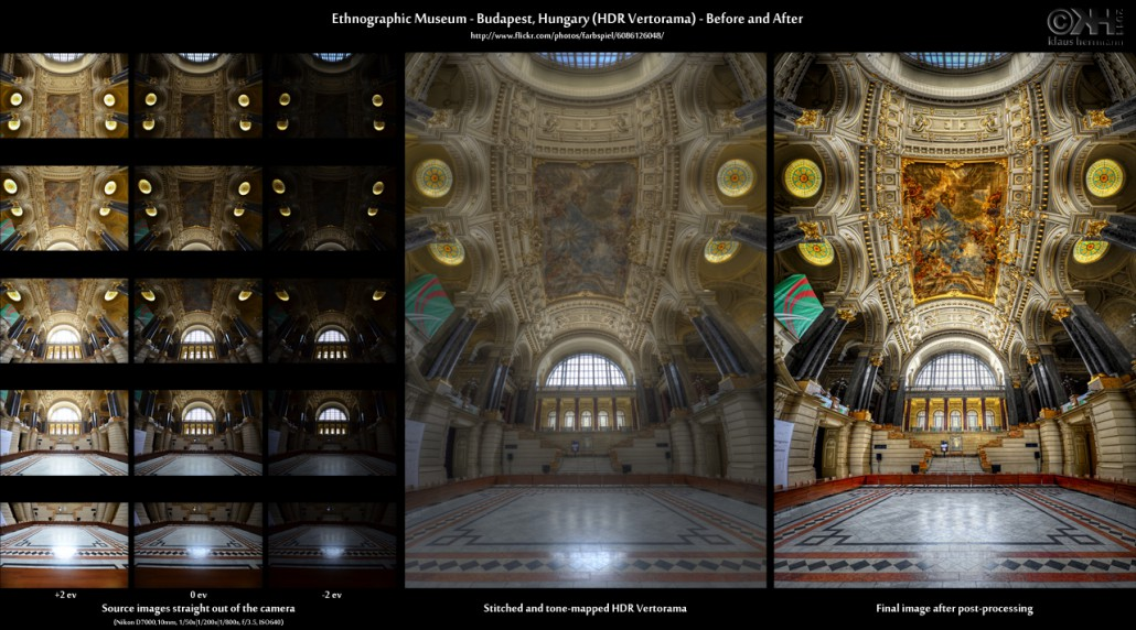 Before-and-after comparison of a stitched HDR Vertorama image showing the interior of the Ethnographic Museum in Budapest, Hungary