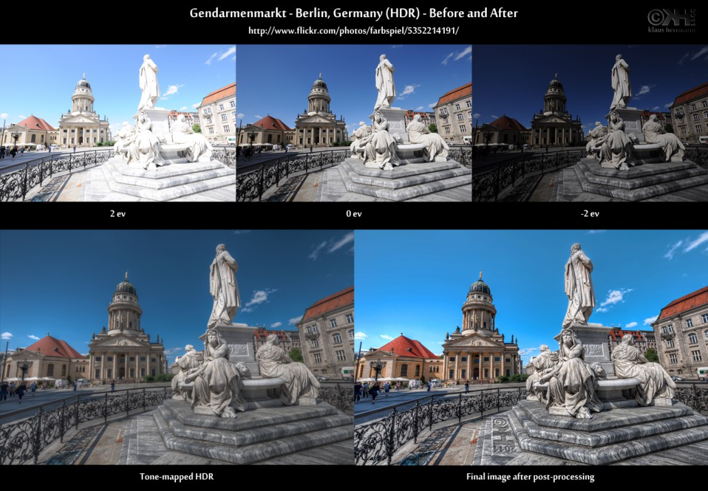 Before-and-after comparison of an HDR image showing the Gendarmenmarkt in Berlin, Germany
