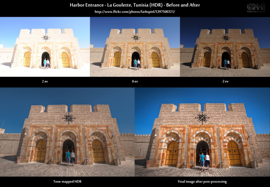 Before-and-after comparison of an HDR image showing the entrance area of the harbour of La Goulette near Tunis, Tunisia