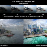 Before-and-after comparison of the image Izmir Harbor - made of 6 source exposures with Photomatix and Photoshop