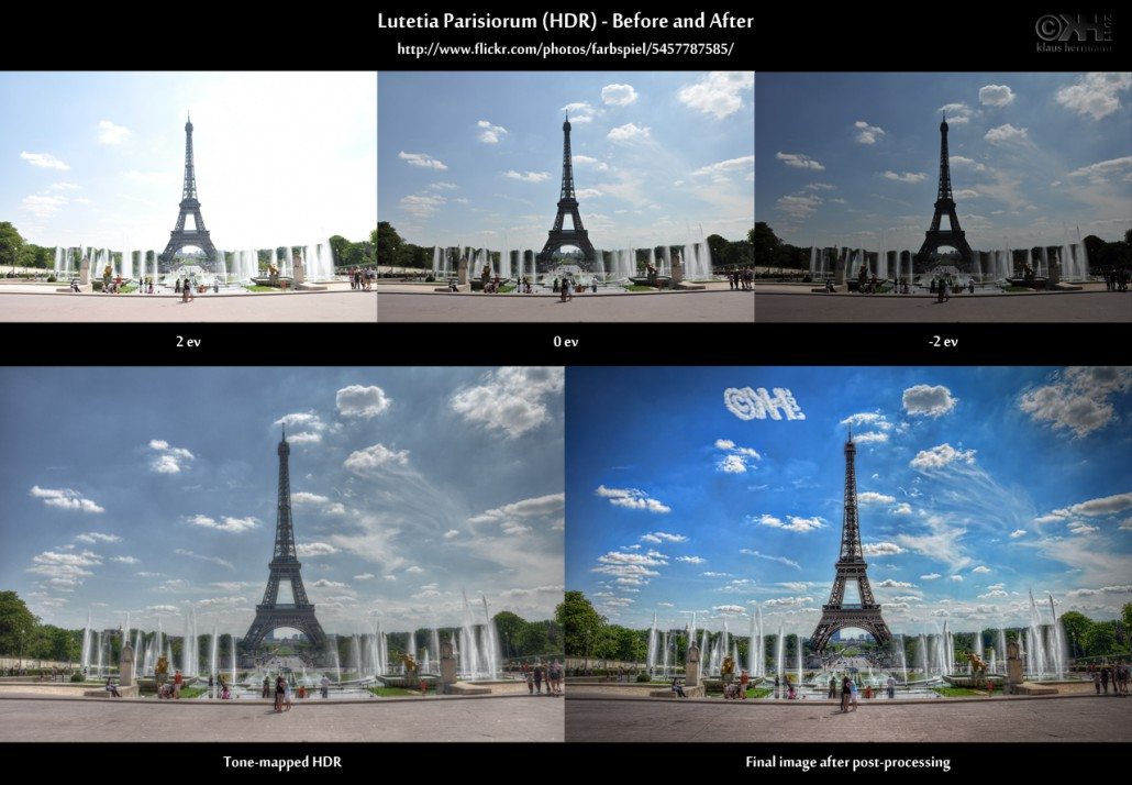 Before-and-after comparison of an HDR image showing the Eiffel tower in Paris: Lutetia Parisiorum (HDR)