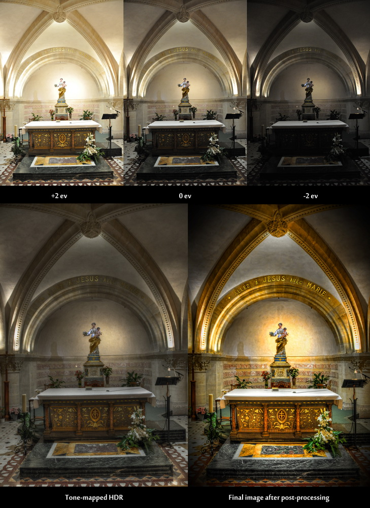 Before-and-after comparison of an HDR image showing the statue of a virgin in the chruch Notre Dame de la Garde in Marseille, France