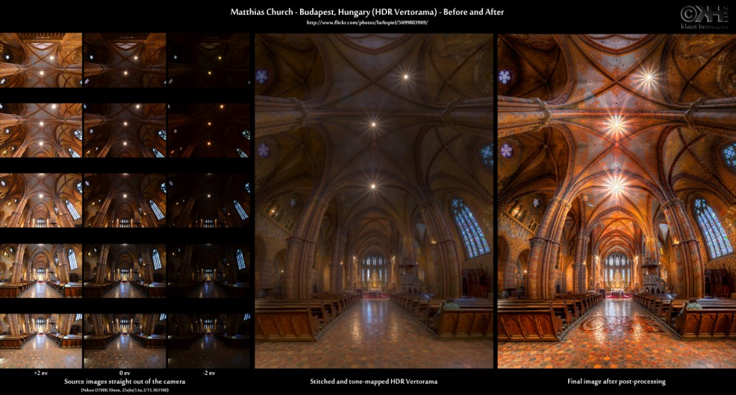 Before-and-after comparison of a stitched HDR Vertorama image showing the interior of the Matthias Church in Budapest, Hungary
