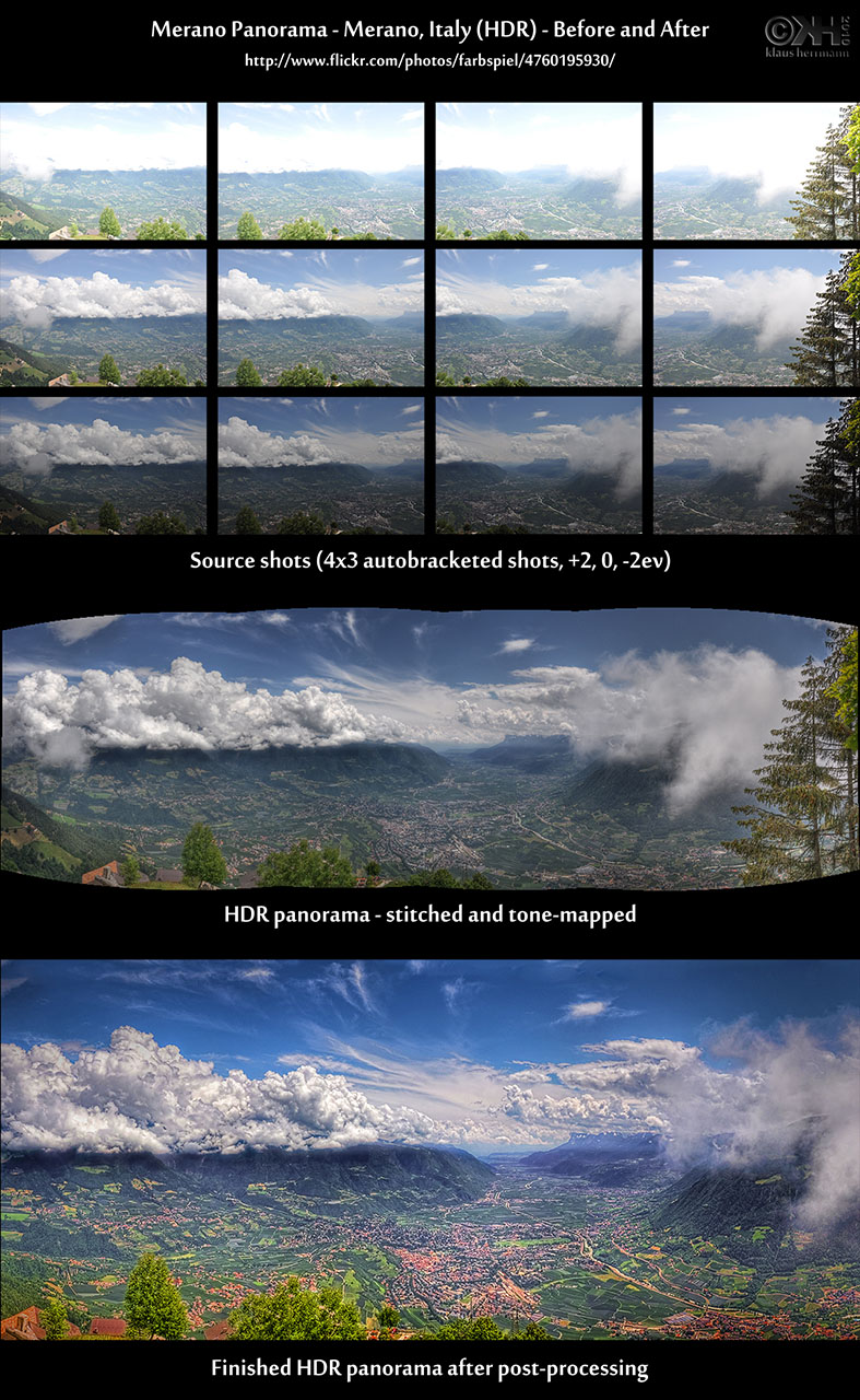 Before-and-after comparison of a stitched HDR panorama image showing a valley in South Tyrol, Italy near Merano with a blue sky and clouds