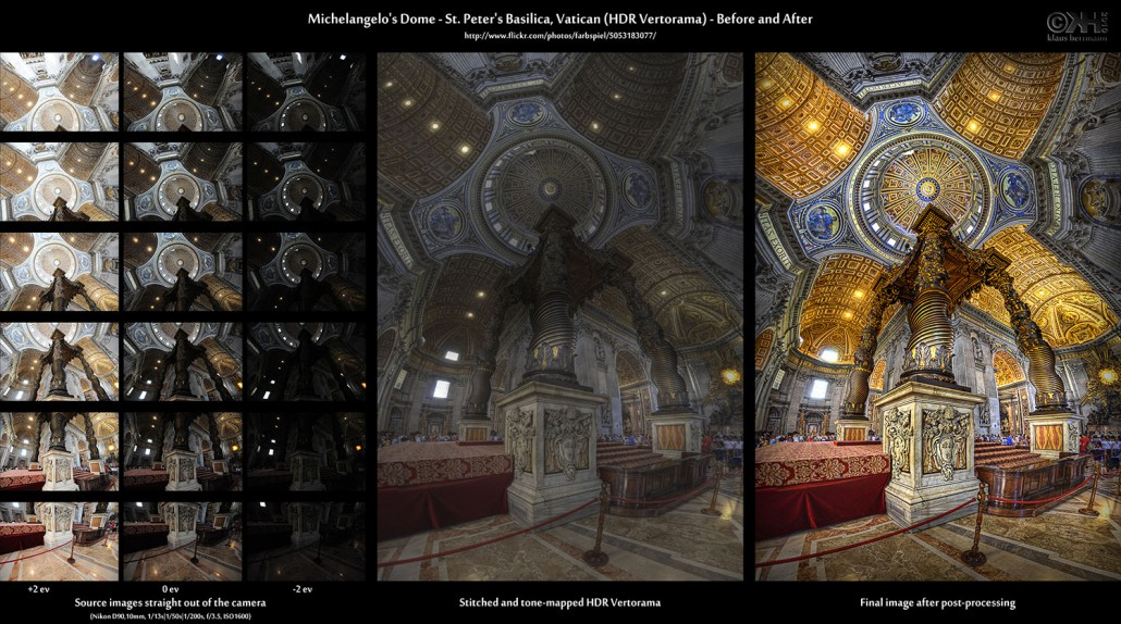 Before-and-after comparison of a stitched HDR Vertorama image showing the interior of St. Peter's Basilica in the Vatican, Rom