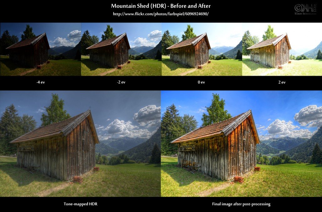 Before-and-after comparison of an HDR image showing a mountain shed with clouds in the background