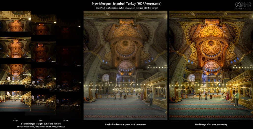 Before-and-after comparison of an HDR Vertorama photo of the New Mosque in Istanbul, Turkey