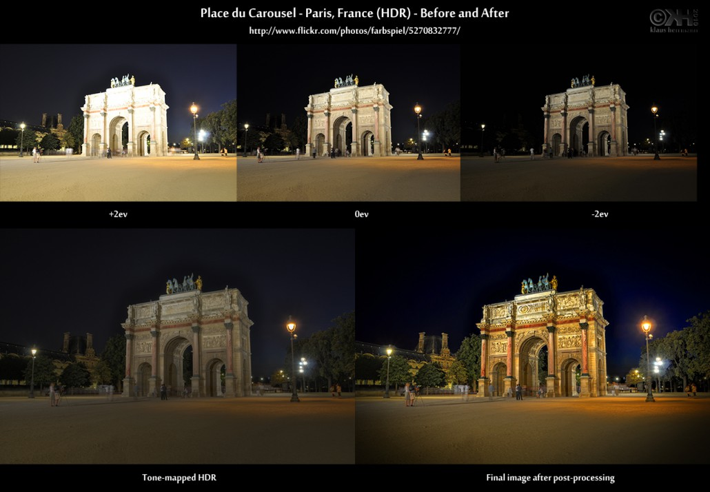 Before-and-after comparison of an HDR image showing Place du Carrouselle in Paris at night