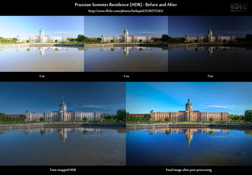 Before-and-after comparison of an HDR image showing Charlottenburg Palace in Berlin and water reflections: Prussian Summer Residence (HDR)