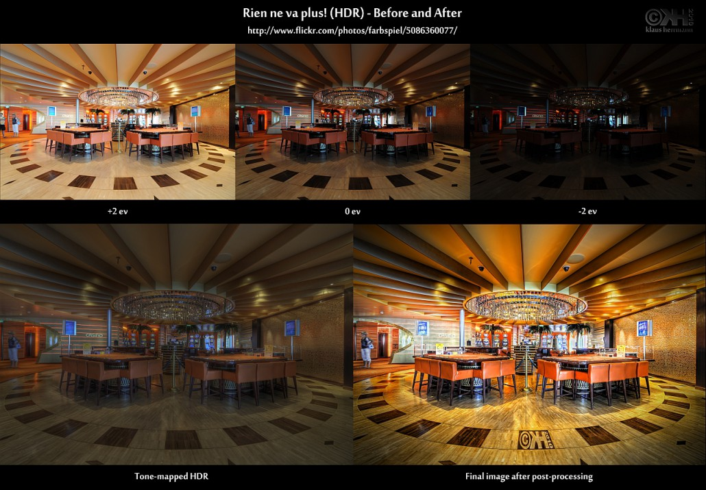 Before-and-after comparison of an HDR image showing a casino: Rien ne va plus! (HDR)