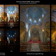 Before-and-after comparison of an HDR image: Santorini Church (HDR)