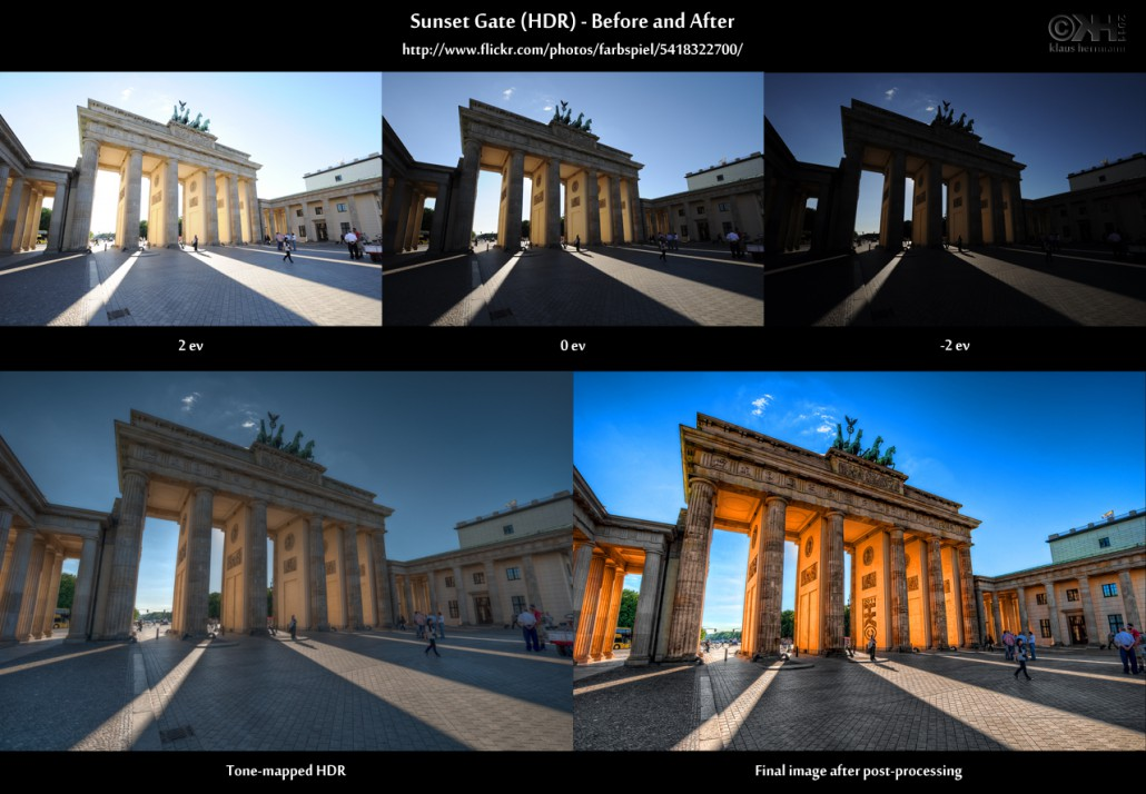 Before-and-after comparison of an HDR image taken at the Brandenburg gate in Berlin at sunset