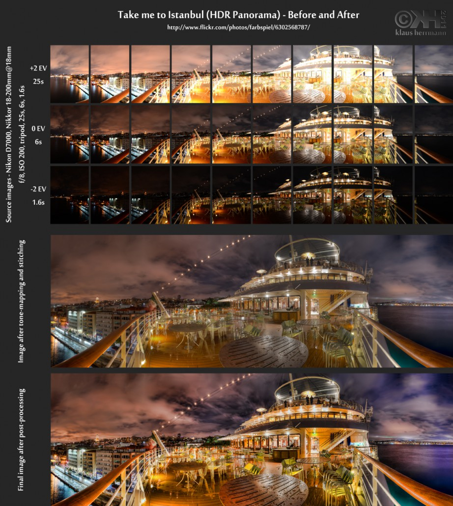 Before-and-after comparison of a stitched HDR panorama image: Take me to Istanbul (HDR Panorama)