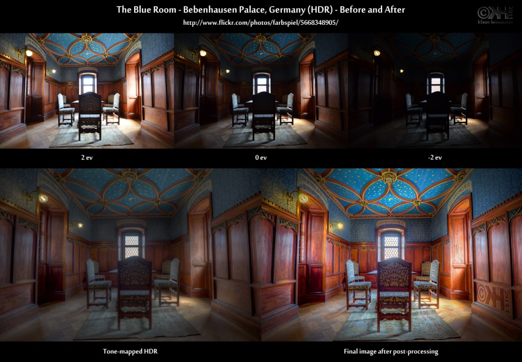 Before-and-after comparison of an HDR image: The Blue Room - Bebenhausen Palace, Germany (HDR)