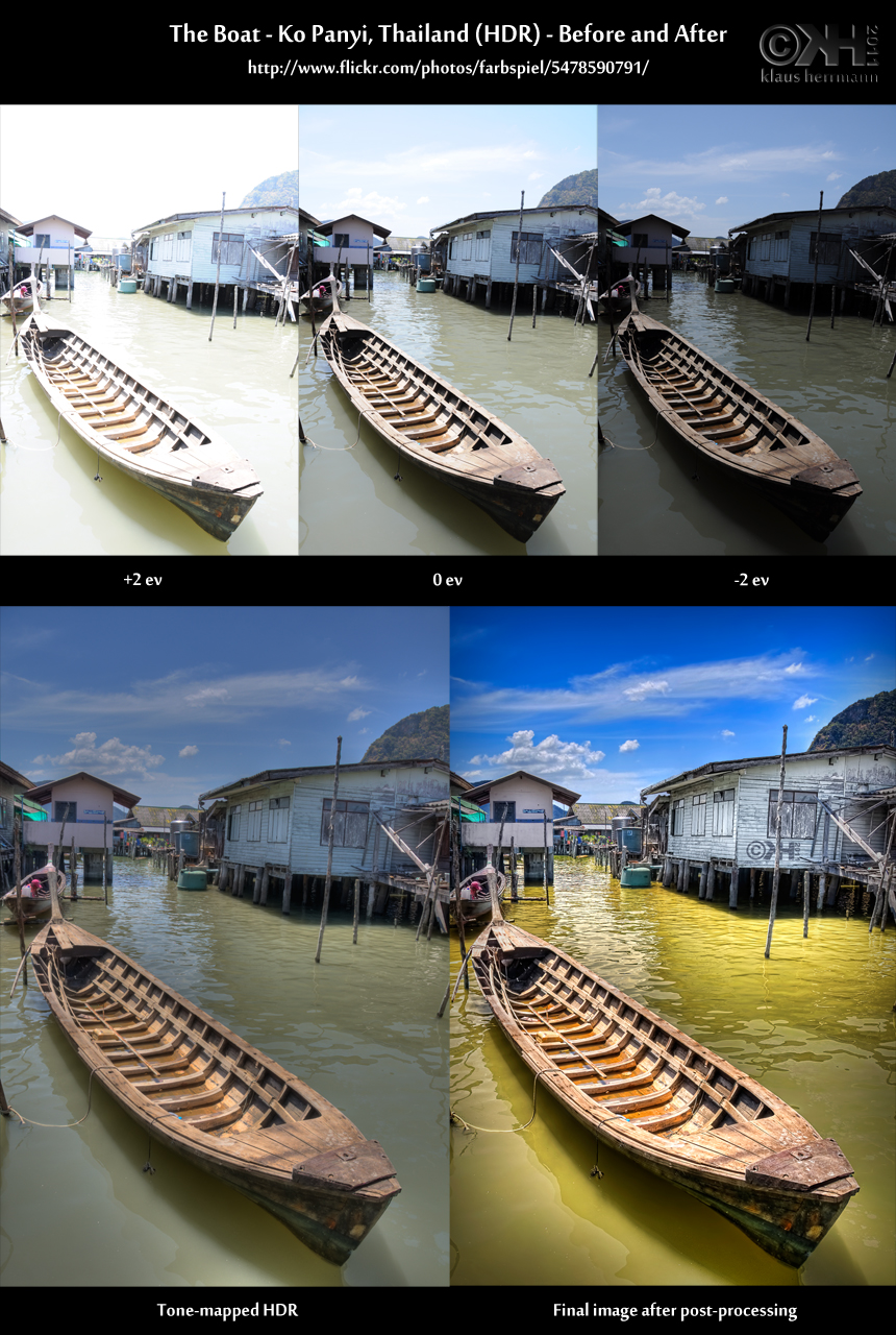 Before-and-after comparison of an HDR image: The Boat - Ko Panyi, Thailand (HDR)