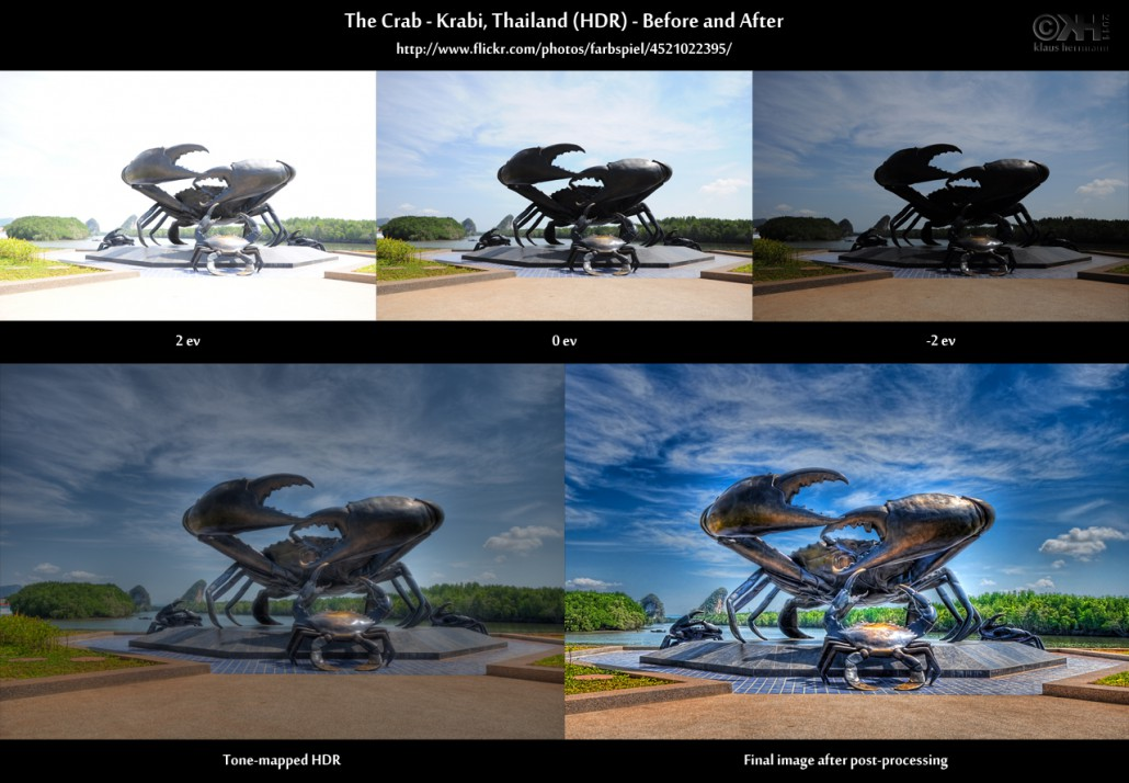 Before-and-after comparison of an HDR image: The Crab - Krabi, Thailand (HDR)