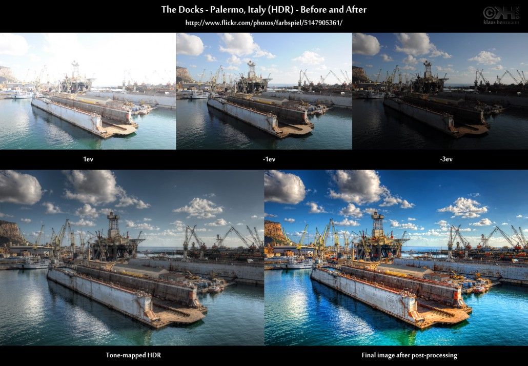 Before-and-after comparison of an HDR image: The Docks - Palermo, Italy (HDR)