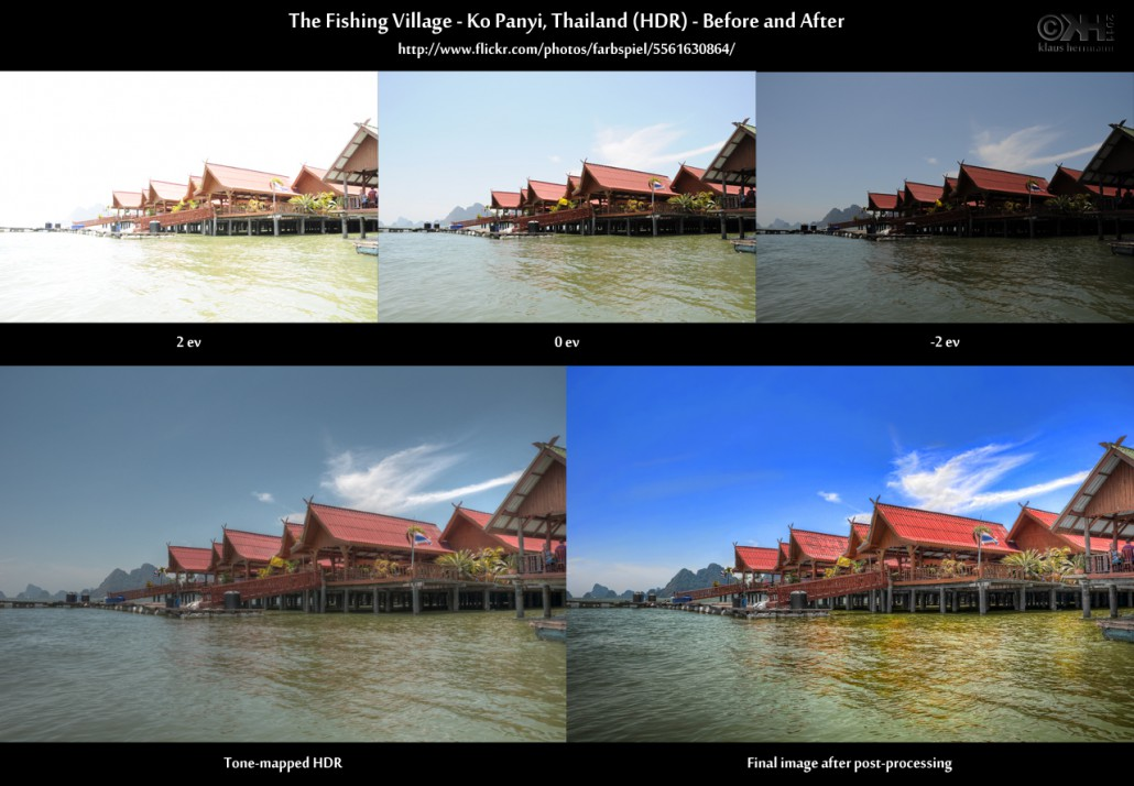 Before-and-after comparison of an HDR image:The Fishing Village - Ko Panyi, Thailand (HDR)
