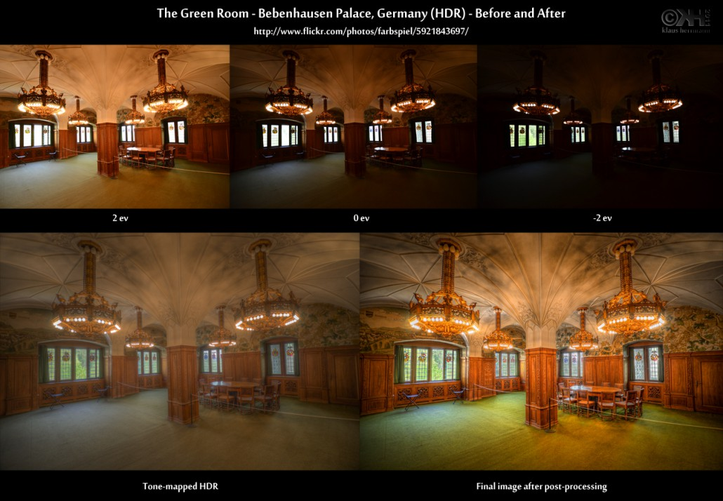 Before-and-after comparison of an HDR image:The Green Room - Bebenhausen Palace, Germany (HDR)
